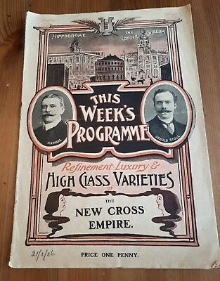 The New Cross Empire Theatre Programme - 21st February 1906