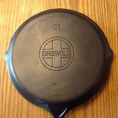 Vtg GRISWOLD Cast Iron SKILLET GRIDDLE Frying Pan #108 LARGE BLOCK LOGO 201 A