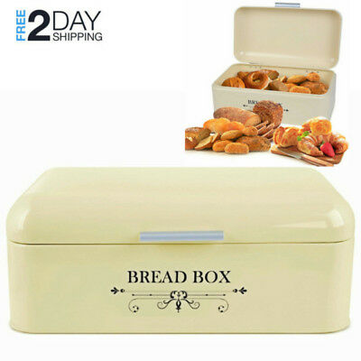 Large Bread Bin Cream White Retro Metal Loaf Box Food Storage Container Keeper