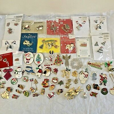 Vintage & Modern Christmas Pins & Brooches, Lot of 60+, Some NOS, Xmas Jewelry