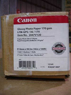 "Canon 2047V123 Satin Photographic Paper, 36"" x 100', 7 mil, 170 gsm, 2"" core"