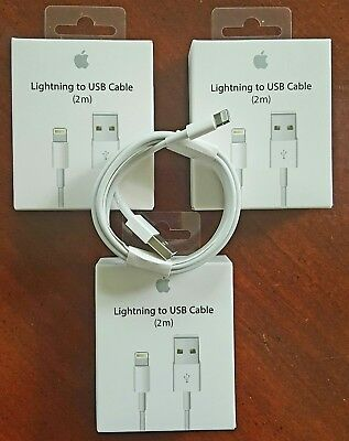 3 PACK (6.6ft EXTRA LONG) ORIGINAL Apple Lightning USB Cable iPhone:X,8,7,6,5,SE