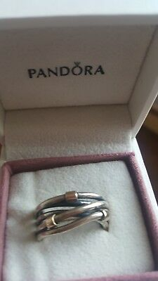 genuine pandora ring silver and gold crossover
