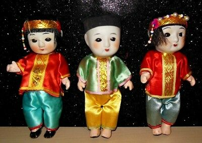 """Lot of 3  VINTAGE Bisque Oriental Asian Japan Jointed  DOLL  6""""  SQUEAKS"""