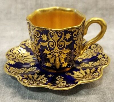 Antique Blue Cobalt and Gold Demitasse Cup and Saucer by Coalport c1900