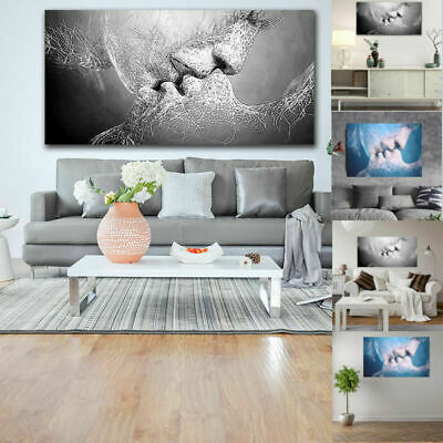 Love Kiss Abstract Art Painting Wallpaper Picture Print Home Decal Poster Decor