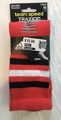 Adidas Men's Team Speed Climalite Traxion Crew Socks Red Black White MD