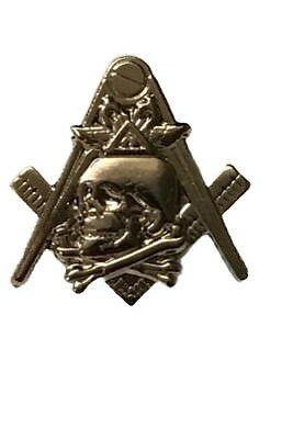 Masonic Skull and Crossbones Lapel Pin. Tie Tack. Square and Compass. NEW!