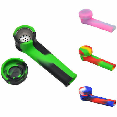 Silicone Hand Tobacco Smoking Pipe with Cap Bowl Herb Cigarette Filter Holder1PC