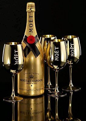 Moet Chandon Gold Goblet Champagne Acrylic Flute X 2  Rare New Style