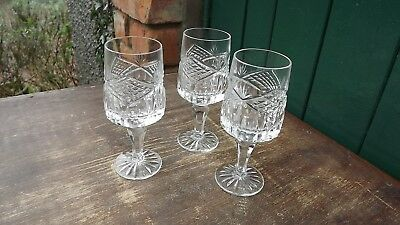 Tyrone Crystal set of 3 stemmed glasses Finely Cut