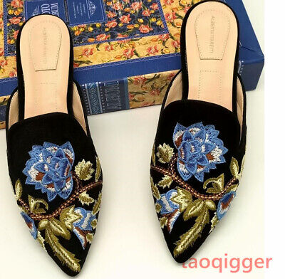 687686a4e61 Fashion Women s Embroidery Backless Loafer Slippers Slide Princetown Shoes  Mules