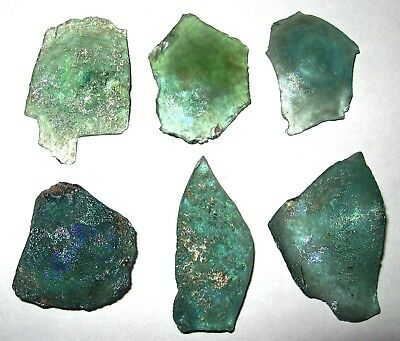 lot of 6 ancient roman glass fragments with very lovely patina amazing....AAA