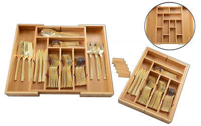 Expandable Bamboo 6 - 13 Compartment cutlery Dividers up to 13 Compartments