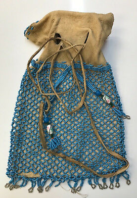 2 Sided Native American Strike Tobacco Trade Beads Beaded Bag Museum Quality