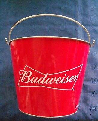 """Excellent & Superb """"budweiser"""" Galvanised Metal Red Ice Bucket/cooler (New)"""
