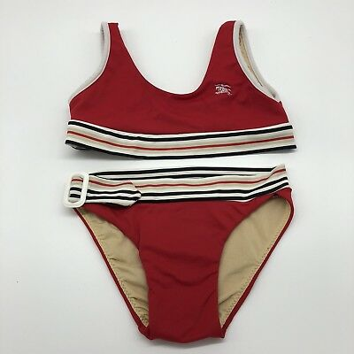 Girls Burberry 2 Piece Bathing Suit Size 2 Years Red Made In Spain
