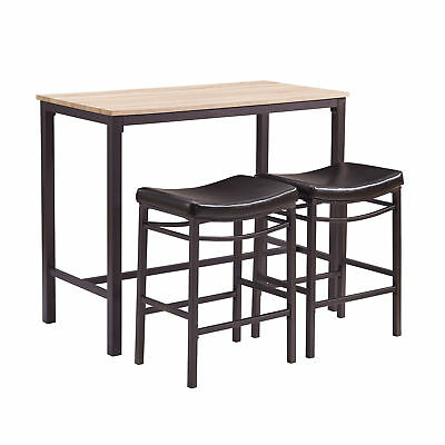 Linon Mdf Wood Three Piece Table Set With Brown Metal Finish 030411MTL01U