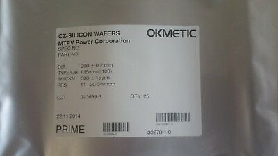 Okmetic 200mm DSP Wafer, 4 lots available (25 items per lot)