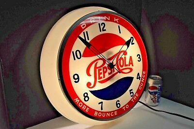 """WOW! Vintage Pepsi Cola Light Up Clock """"MORE BOUNCE TO THE OUNCE"""" Dualite 1950's"""