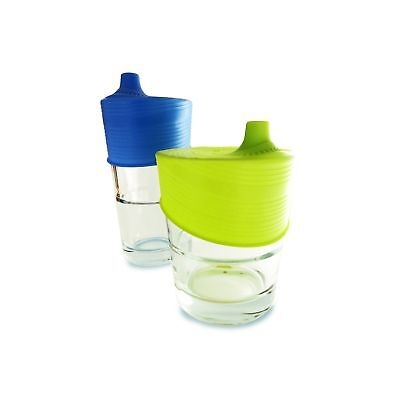 Silikids Siliskin Silicone Sippy Tops, Blue/Lime