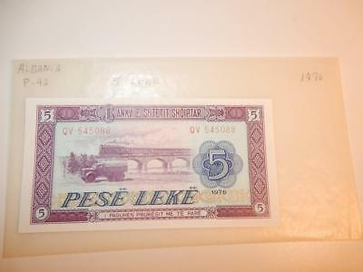 Vintage Currency Albania 5 Leke 1976 Paper Money P-42 Unc