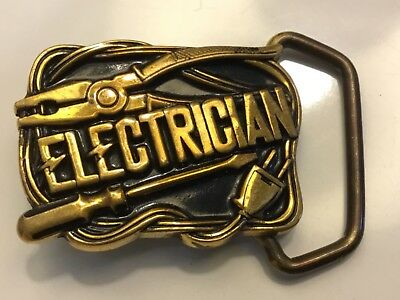 """New Vintage 1984 """"Electrician"""" Small #5S04 Belt Buckle Baron Buckles Solid Brass"""