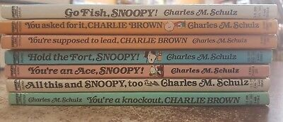 Lot of 7 Vintage Charlie Brown / Snoopy / Peanuts Paperback Books by C. M.Schulz