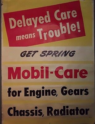 "Vtg 1950's 48"" Mobil Gas Service Station Garage Advertising A Frame Sign Poster"