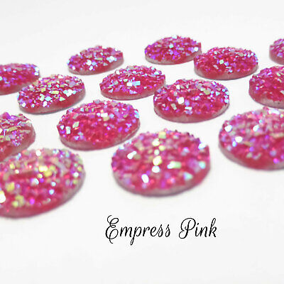 10 x Empress Pink AB Druzy 11.5 - 12mm Cabochon Perfect for Earrings
