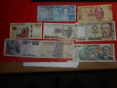PAPER MONEY WORLD CURRENCY lot of  8 ,peru,mexico , and more