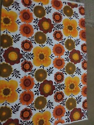 Retro Vintage Orange and Brown Funky Floral Barkcloth Fabric..