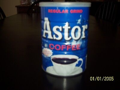 VINTAGE ASTOR COFFEE 16 OZ 1 POUND Regular Grind BLUE TIN CAN WITH LID 1970's