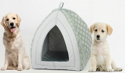 Cat Dog Puppy Folding Warm Fleece Soft Igloo Cave Pet House Bed Kitten Grey - S