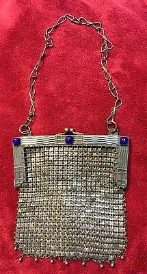 German Silver Large Mesh Vintage Purse 3 Blue Jewels With Drops Along Bottom