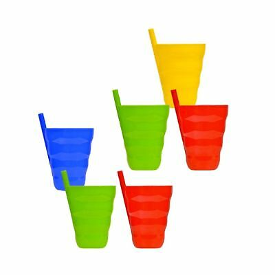 Arrow Plastic Sip-A-Cup with build in straw, 10 Oz Assorted Colors - 6 Count