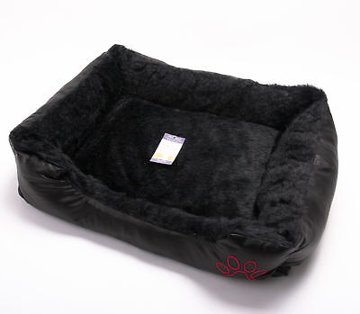 Luxury Dog Cat Puppy Kitten Pet Bed Cushion Fur Leather Look Basket Mat Black-S