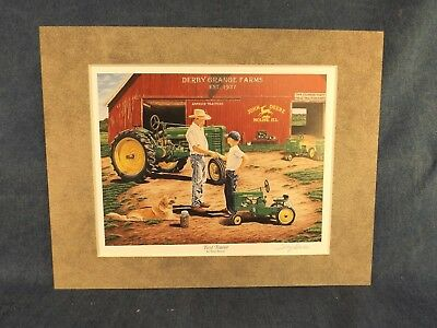 John Deere Pedal Tractor Print - First Tractor - Terry Downs - Matted