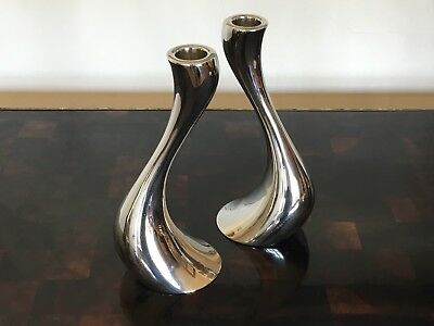"""Set of Two Stainless Georg Jensen 8"""" Cobra Candle Holders"""