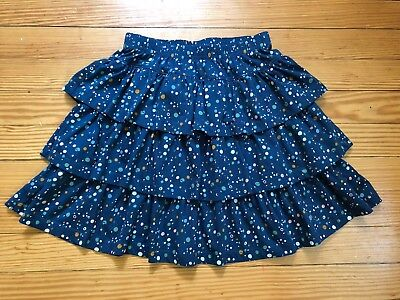 Hanna Andersson Size 130 8 Polka Dot Skirt Navy Blue Twirl Tiered Girl