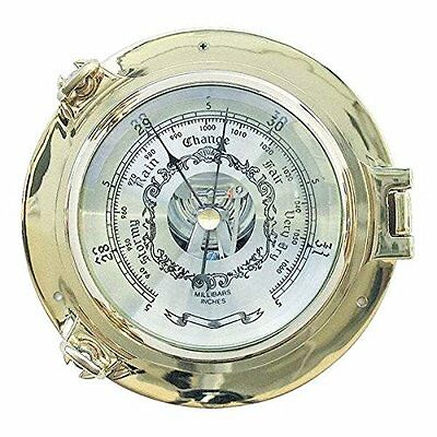 Edles Barometer in Bullaugenform aus massiv Messing- 18 cm