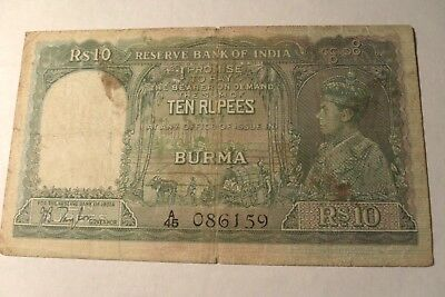 BURMA INDIA the reserve bank of India 10 rupees R S 10