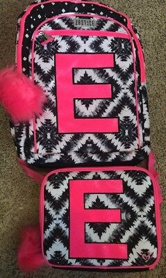 Justice Geo Tie Dye Letter E Backpack And matching Lunchbox