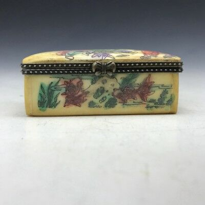 Ancient bone refined carmine box Child painted pattern. ly146