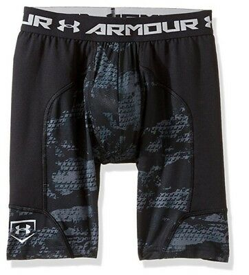 UNDER ARMOUR Boys' Heatgear Spacer Slider Shorts w/ Athletic Cup - BLACK - Large