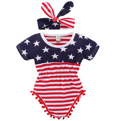 a73ebbdb2 Baby Girl 4th of July Outfit American Flag Romper Headband Patriotic Clothes