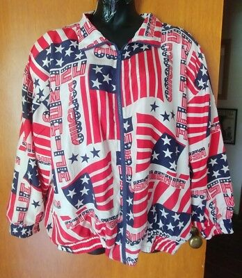 Vintage USA Flags Bogari Size 2X 1980's Silk Track/ bomber Jacket USA America