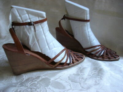 DR.SCHOLL'S The Original  Brown Leather Wedge Sandals Size 10