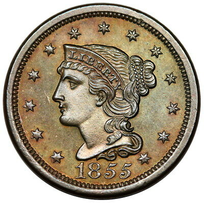 1855 Braided Hair Large Cent, Slant 5s, N-10, EDS, prooflike UNC