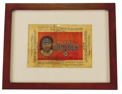 """Framed Babe Ruth """"Ruth's Home Run"""" Candy Bar Wrapper Five Cents"""
